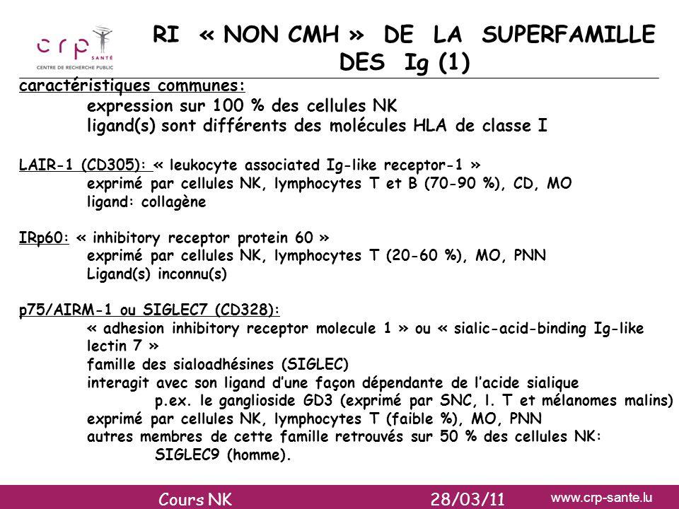 www.crp-sante.lu RI « NON CMH » DE LA SUPERFAMILLE DES Ig (1) caractéristiques communes: expression sur 100 % des cellules NK ligand(s) sont différent