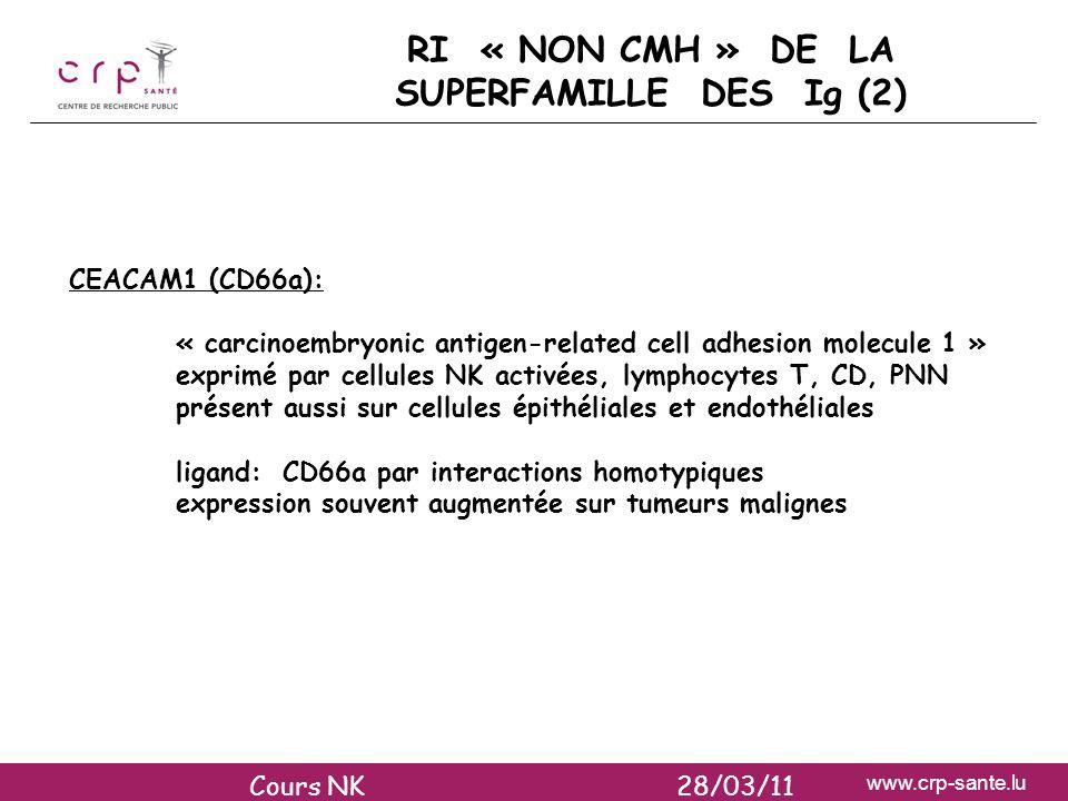 www.crp-sante.lu RI « NON CMH » DE LA SUPERFAMILLE DES Ig (2) CEACAM1 (CD66a): « carcinoembryonic antigen-related cell adhesion molecule 1 » exprimé p