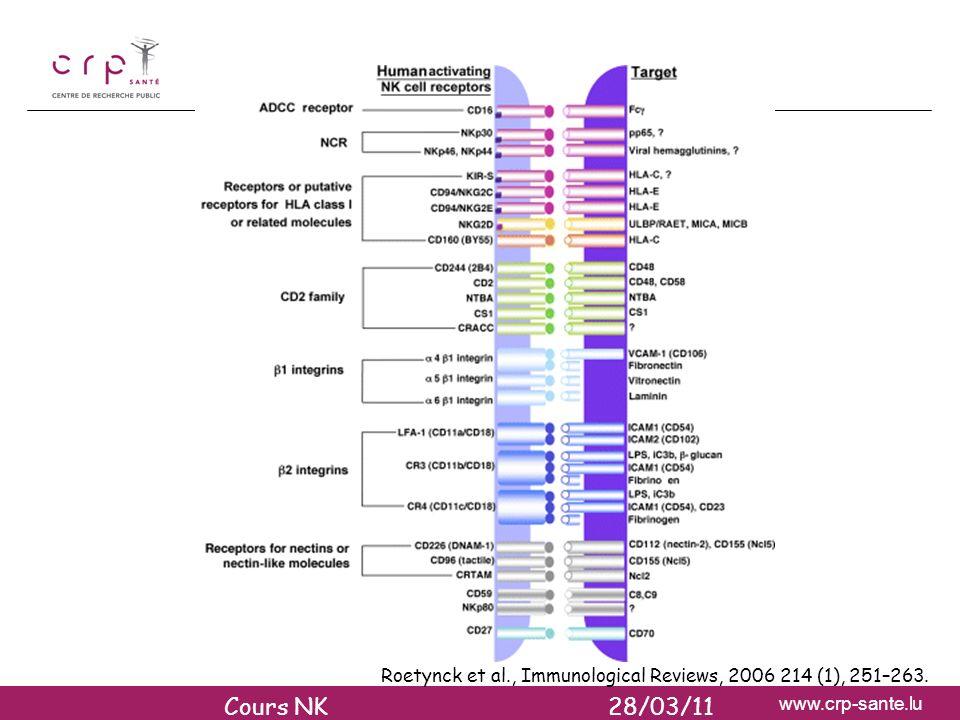 www.crp-sante.lu RECEPTEURS ACTIVATEURS DES CELLULES NK (1) Roetynck et al., Immunological Reviews, 2006 214 (1), 251–263. Cours NK 28/03/11