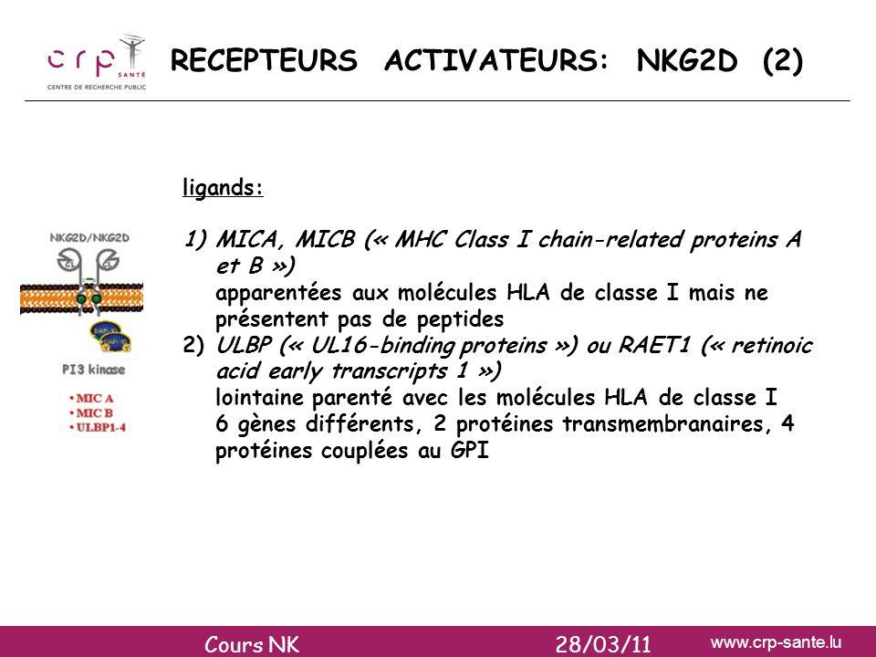 www.crp-sante.lu ligands: 1)MICA, MICB (« MHC Class I chain-related proteins A et B ») apparentées aux molécules HLA de classe I mais ne présentent pa