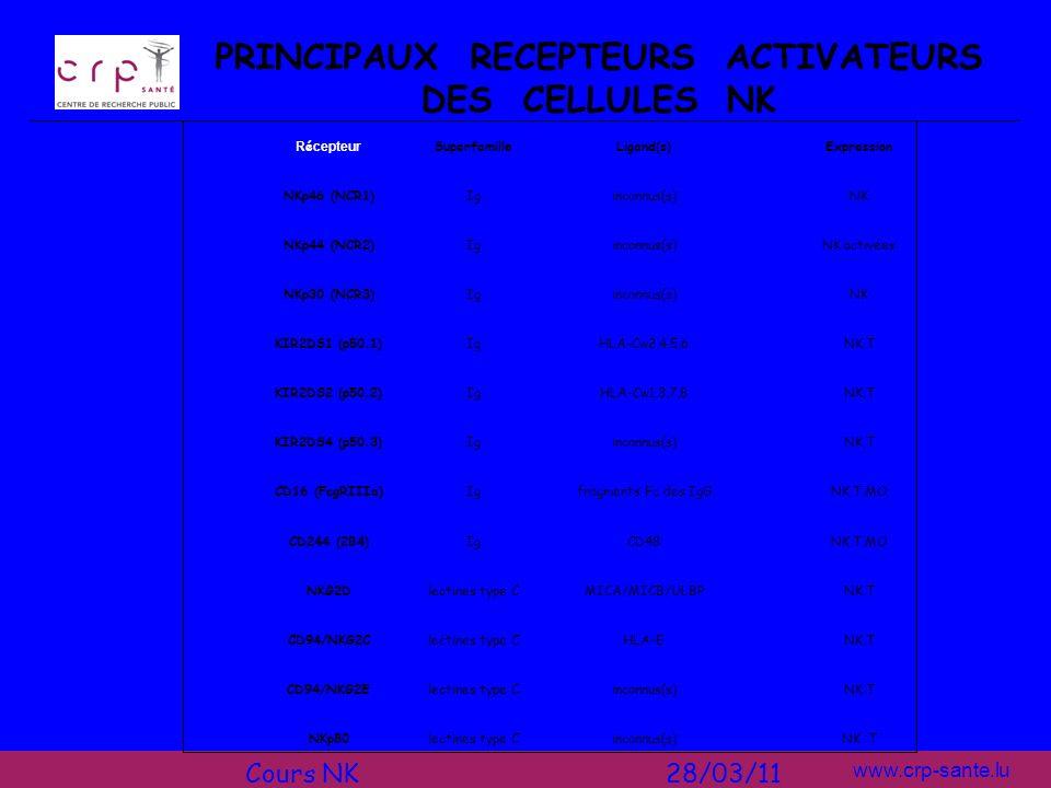 www.crp-sante.lu PRINCIPAUX RECEPTEURS ACTIVATEURS DES CELLULES NK R é cepteur SuperfamilleLigand(s)Expression NKp46 (NCR1)Iginconnus(s)NK NKp44 (NCR2