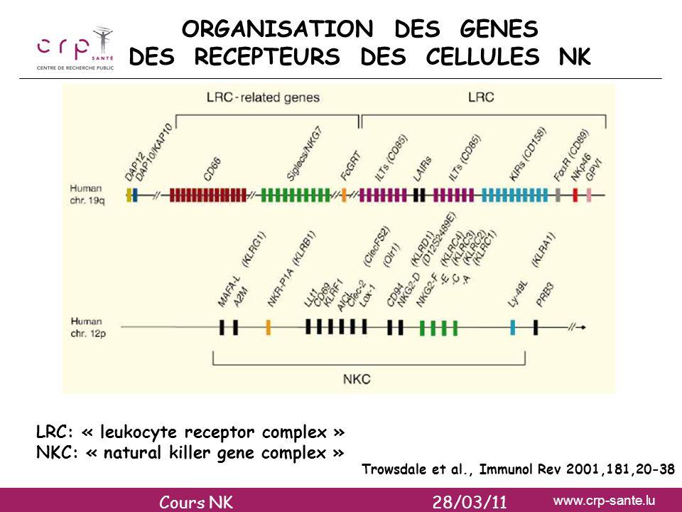 www.crp-sante.lu ORGANISATION DES GENES DES RECEPTEURS DES CELLULES NK Trowsdale et al., Immunol Rev 2001,181,20-38 LRC: « leukocyte receptor complex