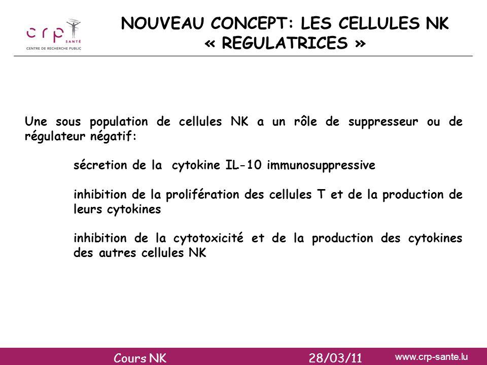 www.crp-sante.lu NOUVEAU CONCEPT: LES CELLULES NK « REGULATRICES » Une sous population de cellules NK a un rôle de suppresseur ou de régulateur négati