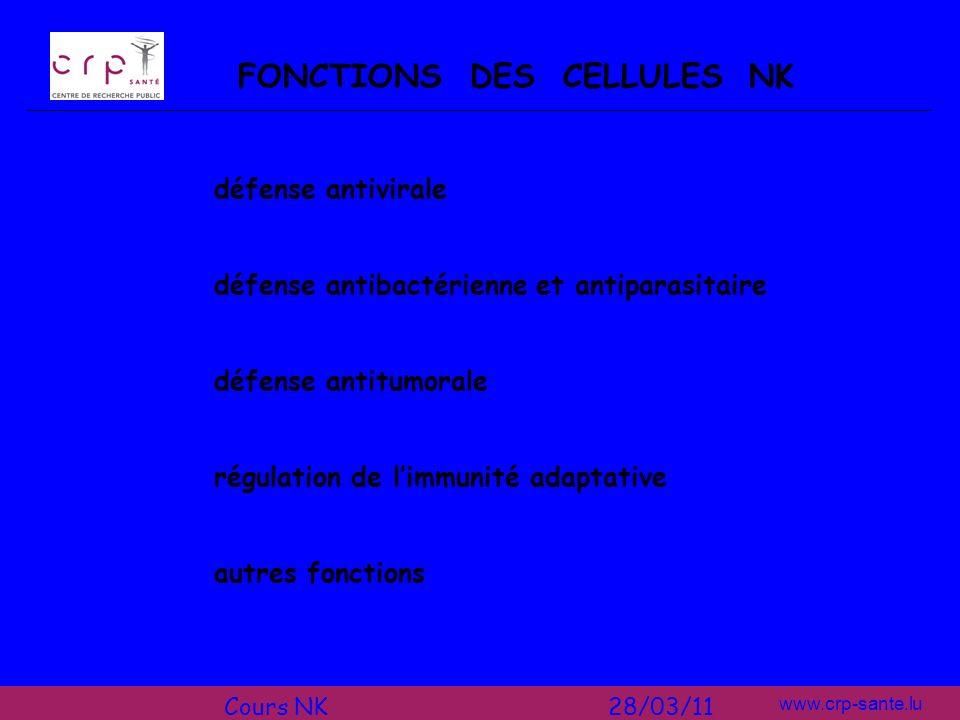 www.crp-sante.lu RI RA cellules cibles cellules NK + + - messages + et -: pas de lyse (- > +) absence de messages -: lyse RI HLA classe I LA BALANCE ENTRE MESSAGES INHIBITEURS ET ACTIVATEURS Cours NK 28/03/11