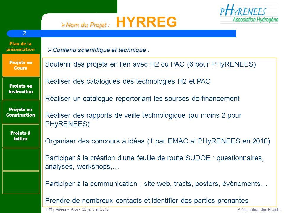 2 Plan de la présentation P H yrénées - Albi - 22 janvier 2010 Présentation des Projets Nom du Projet : Nom du Projet : HYRREG Projets en Instruction