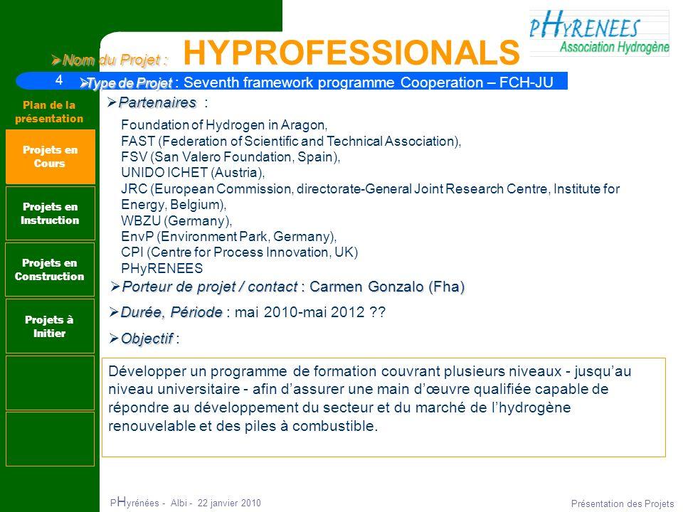 4 Plan de la présentation P H yrénées - Albi - 22 janvier 2010 Présentation des Projets Nom du Projet : Nom du Projet : HYPROFESSIONALS Projets en Ins