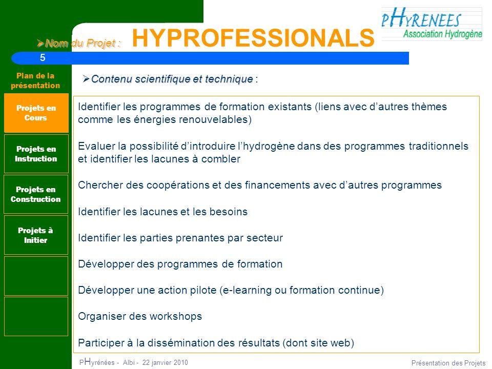 5 Plan de la présentation P H yrénées - Albi - 22 janvier 2010 Présentation des Projets Nom du Projet : Nom du Projet : HYPROFESSIONALS Projets en Ins