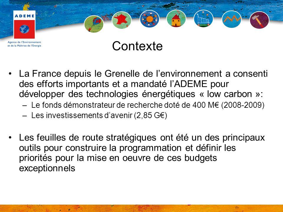 La France depuis le Grenelle de lenvironnement a consenti des efforts importants et a mandaté lADEME pour développer des technologies énergétiques « low carbon »: –Le fonds démonstrateur de recherche doté de 400 M (2008-2009) –Les investissements davenir (2,85 G) Les feuilles de route stratégiques ont été un des principaux outils pour construire la programmation et définir les priorités pour la mise en oeuvre de ces budgets exceptionnels Contexte
