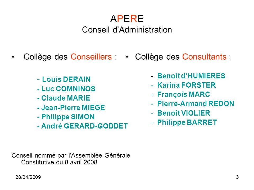28/04/20093 APERE Conseil dAdministration Collège des Conseillers : - Louis DERAIN - Luc COMNINOS - Claude MARIE - Jean-Pierre MIEGE - Philippe SIMON