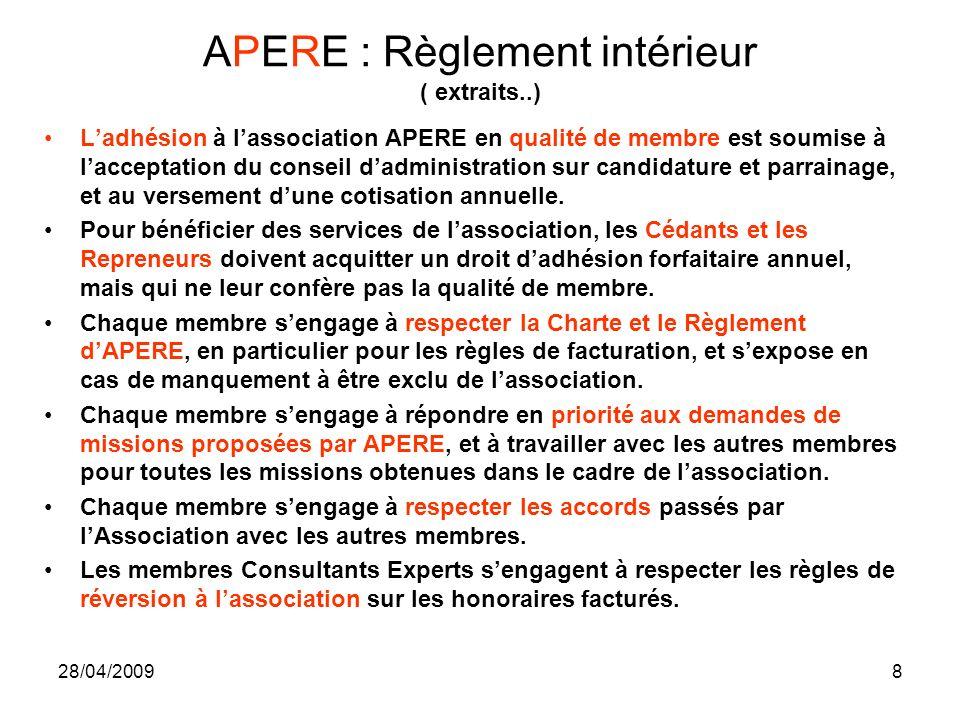 28/04/20098 APERE : Règlement intérieur ( extraits..) Ladhésion à lassociation APERE en qualité de membre est soumise à lacceptation du conseil dadmin