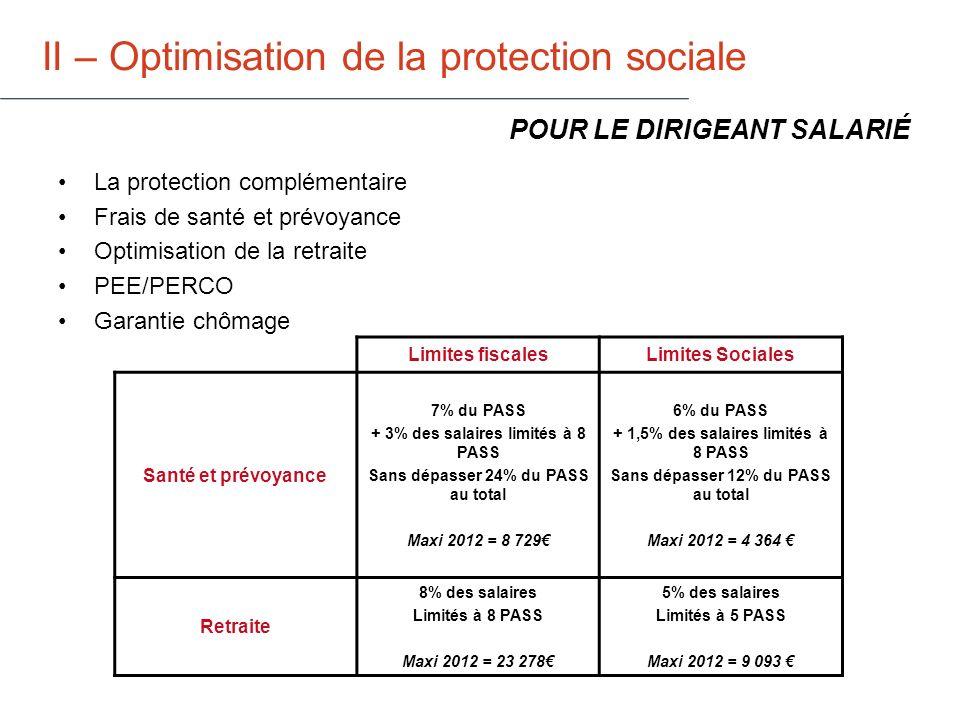 II – Optimisation de la protection sociale Attention : la protection sociale est directement liée au salaire POUR LE DIRIGEANT SALARIÉ Pas de salaire : pas de protection .