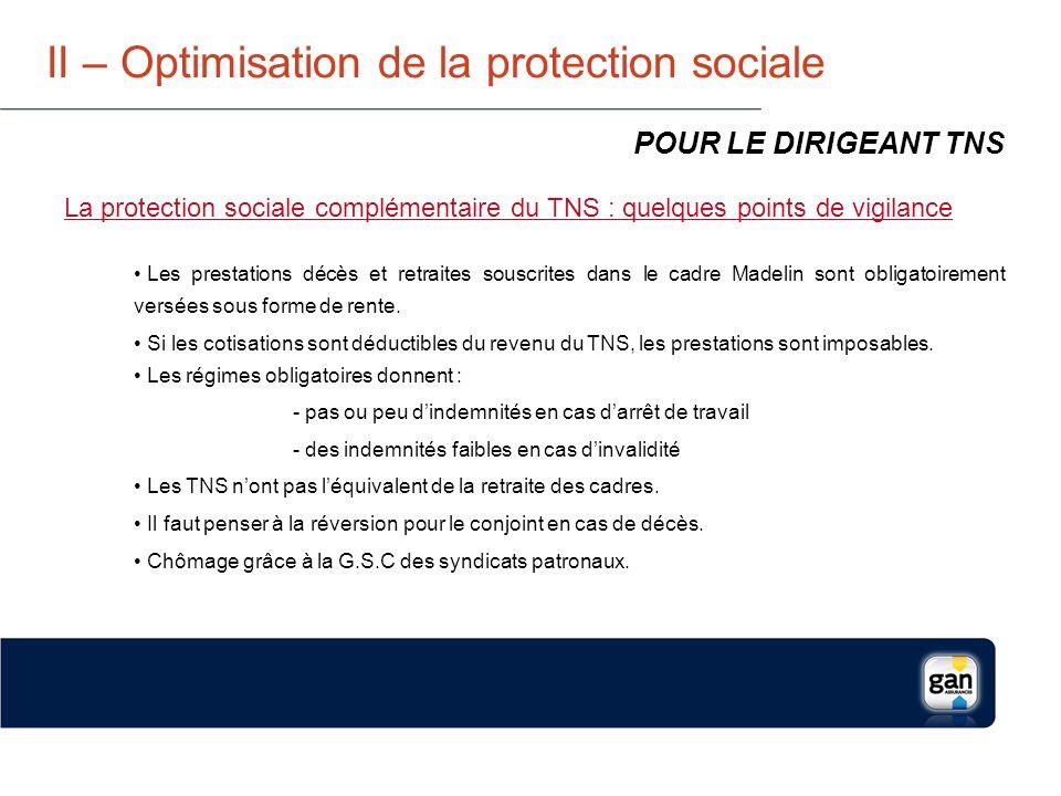 II – Optimisation de la protection sociale La protection complémentaire : santé, prévoyance, retraite, PEE/PERCO, Chômage la loi Madelin permet de déduire du revenu professionnel imposable les primes versées dans les limites suivantes : POUR LE DIRIGEANT TNS Santé et Prévoyance 7% du PASS + 3,75% du bénéfice plafonné 8 PASS Sans dépasser 3% de 8 PASS Maxi 2012 = 8 729 Retraite 10% du bénéfice plafonné à 8 PASS + 15% du bénéfice compris entre 1 et 8 PASS Maxi 2012 = 67 291