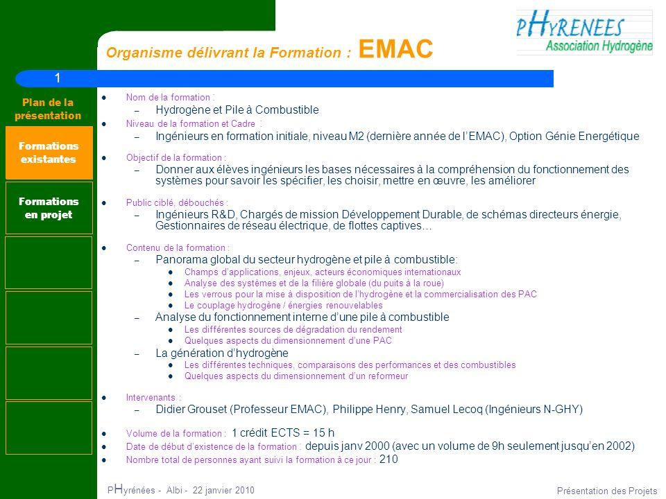 1 Plan de la présentation P H yrénées - Albi - 22 janvier 2010 Présentation des Projets Organisme délivrant la Formation : EMAC Nom de la formation :