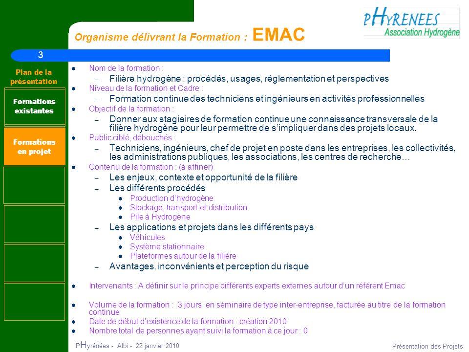 3 Plan de la présentation P H yrénées - Albi - 22 janvier 2010 Présentation des Projets Organisme délivrant la Formation : EMAC Nom de la formation :