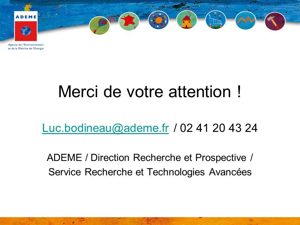 Merci de votre attention ! Luc.bodineau@ademe.frLuc.bodineau@ademe.fr / 02 41 20 43 24 ADEME / Direction Recherche et Prospective / Service Recherche