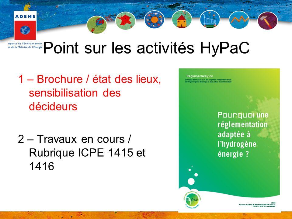 Point sur les activités HyPaC 1 – Brochure / état des lieux, sensibilisation des décideurs 2 – Travaux en cours / Rubrique ICPE 1415 et 1416