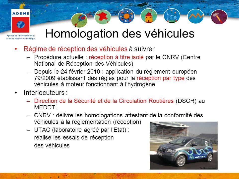Homologation des véhicules Régime de réception des véhicules à suivre : –Procédure actuelle : réception à titre isolé par le CNRV (Centre National de