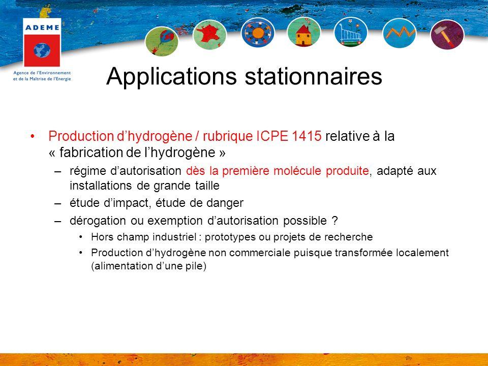 Applications stationnaires Production dhydrogène / rubrique ICPE 1415 relative à la « fabrication de lhydrogène » –régime dautorisation dès la premièr