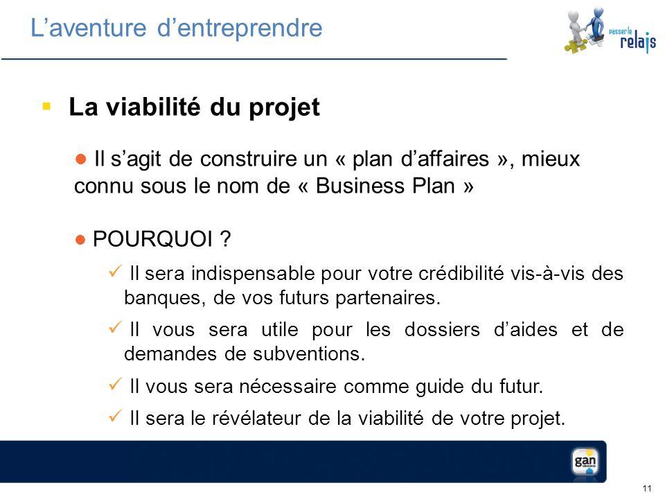 11 La viabilité du projet Il sagit de construire un « plan daffaires », mieux connu sous le nom de « Business Plan » POURQUOI .