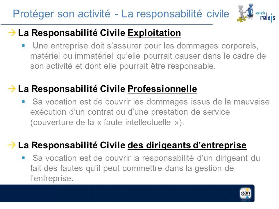 La Responsabilité Civile Exploitation Une entreprise doit sassurer pour les dommages corporels, matériel ou immatériel quelle pourrait causer dans le cadre de son activité et dont elle pourrait être responsable.