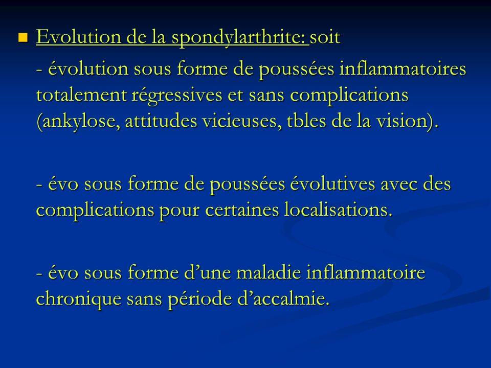 Evolution de la spondylarthrite: soit Evolution de la spondylarthrite: soit - évolution sous forme de poussées inflammatoires totalement régressives e