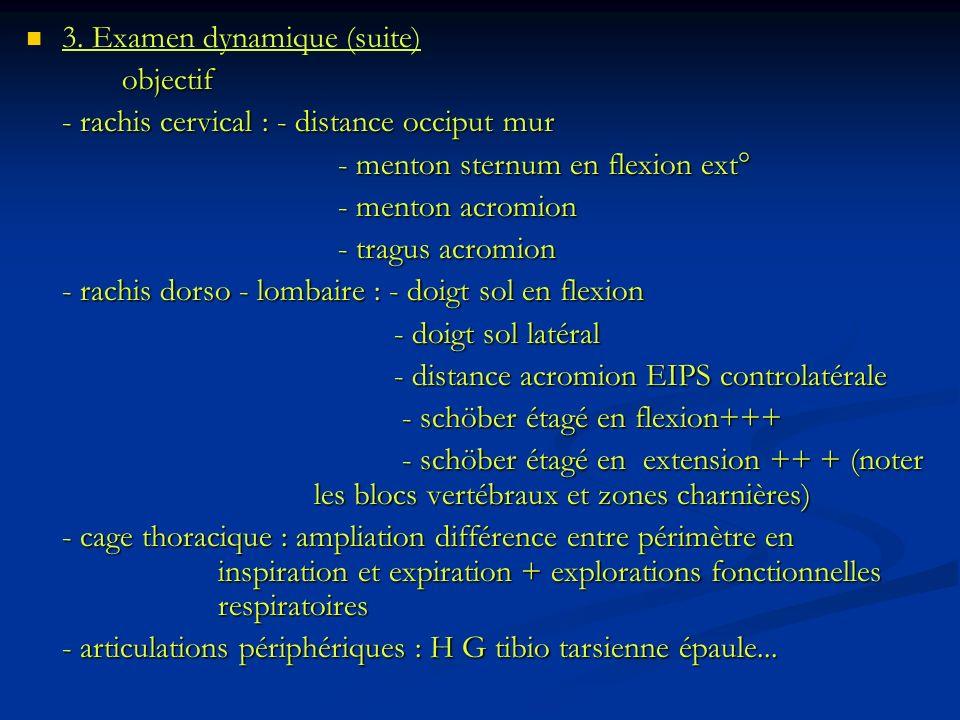 3. Examen dynamique (suite)objectif - rachis cervical : - distance occiput mur - menton sternum en flexion ext° - menton sternum en flexion ext° - men