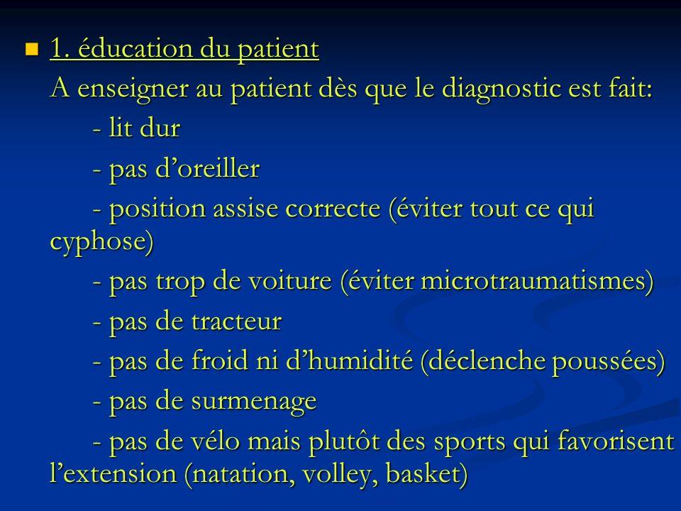1. éducation du patient 1. éducation du patient A enseigner au patient dès que le diagnostic est fait: - lit dur - pas doreiller - position assise cor