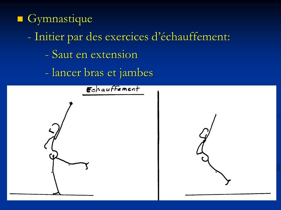 Gymnastique Gymnastique - Initier par des exercices déchauffement: - Saut en extension - lancer bras et jambes