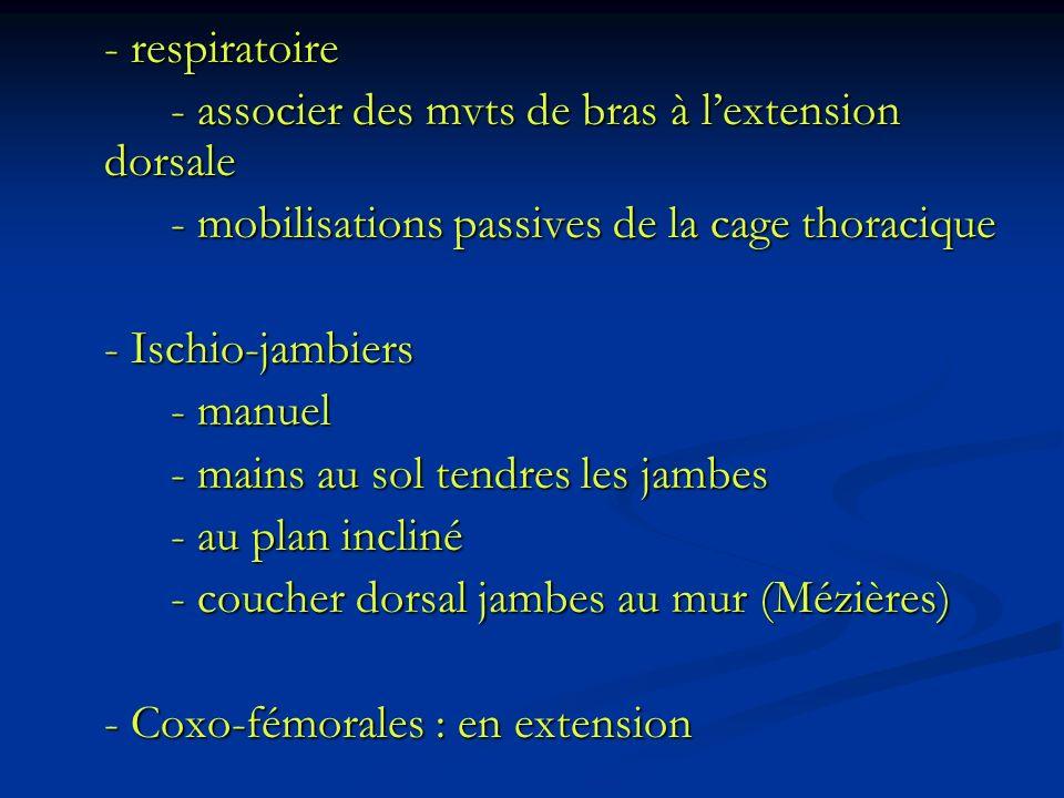 - respiratoire - associer des mvts de bras à lextension dorsale - mobilisations passives de la cage thoracique - Ischio-jambiers - manuel - mains au s