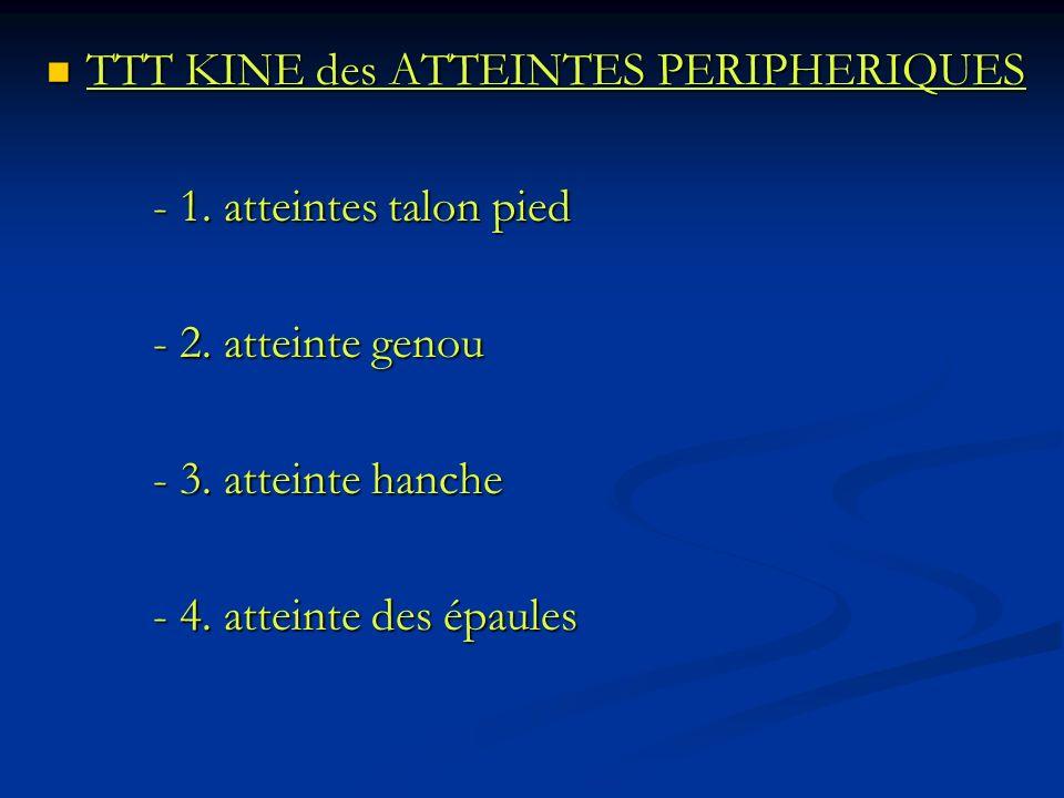 TTT KINE des ATTEINTES PERIPHERIQUES TTT KINE des ATTEINTES PERIPHERIQUES - 1. atteintes talon pied - 2. atteinte genou - 3. atteinte hanche - 4. atte