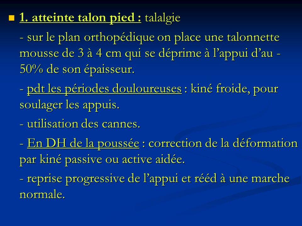 1. atteinte talon pied : talalgie 1. atteinte talon pied : talalgie - sur le plan orthopédique on place une talonnette mousse de 3 à 4 cm qui se dépri