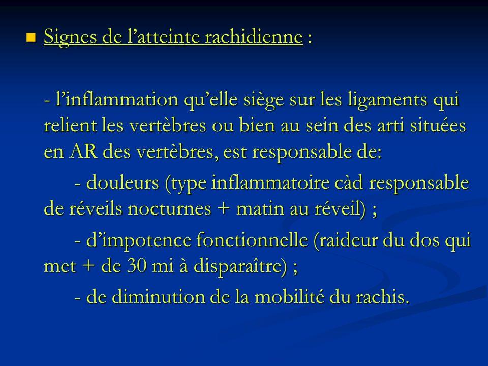 Signes de latteinte rachidienne : Signes de latteinte rachidienne : - linflammation quelle siège sur les ligaments qui relient les vertèbres ou bien a