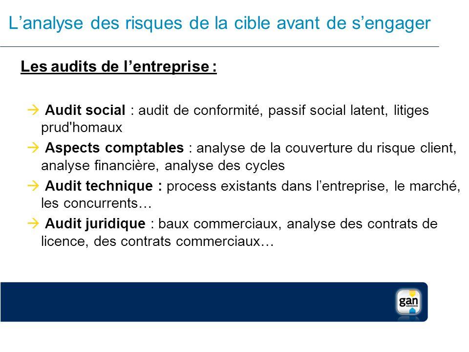 Lanalyse des risques de la cible avant de sengager Les audits de lentreprise : Audit social : audit de conformité, passif social latent, litiges prud'