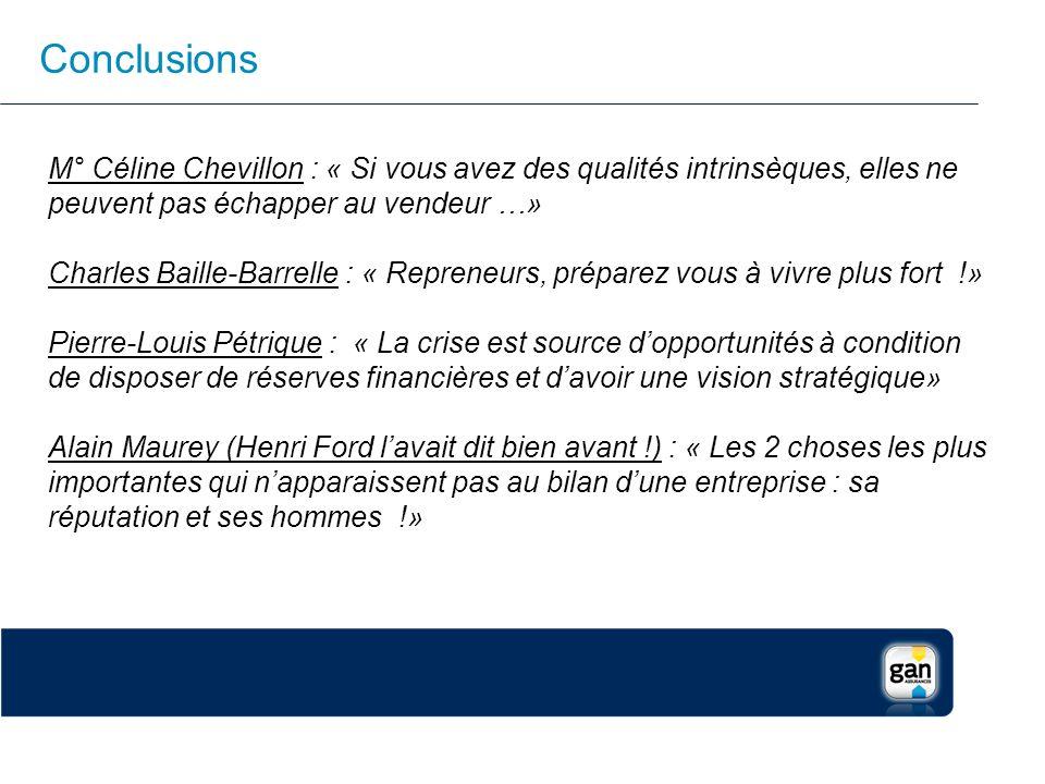 Conclusions M° Céline Chevillon : « Si vous avez des qualités intrinsèques, elles ne peuvent pas échapper au vendeur …» Charles Baille-Barrelle : « Re