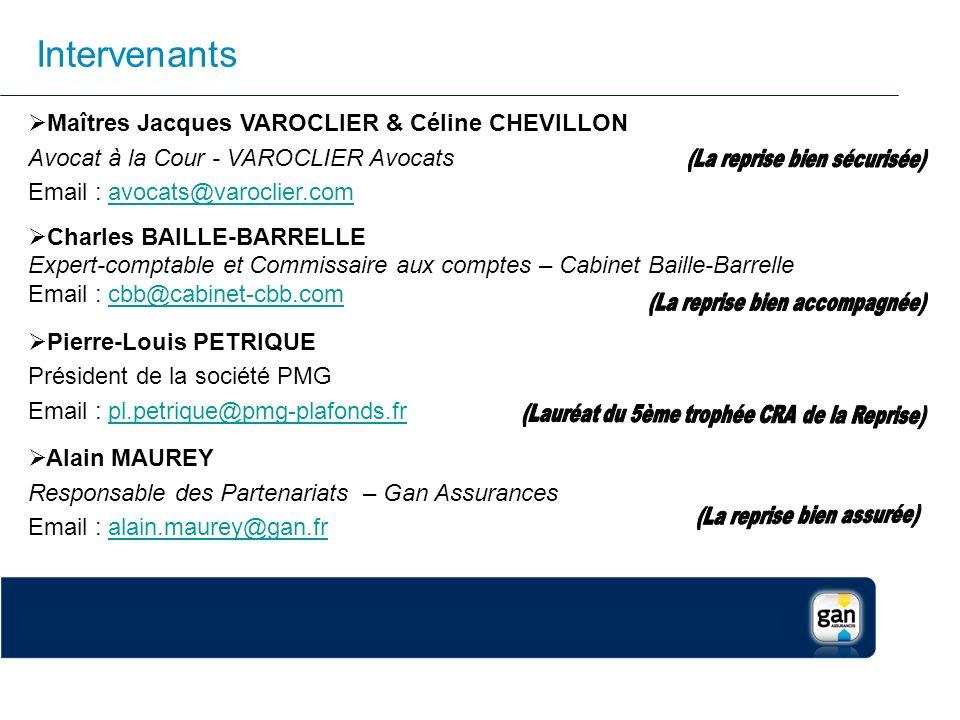 Intervenants Maîtres Jacques VAROCLIER & Céline CHEVILLON Avocat à la Cour - VAROCLIER Avocats Email : avocats@varoclier.comavocats@varoclier.com Char