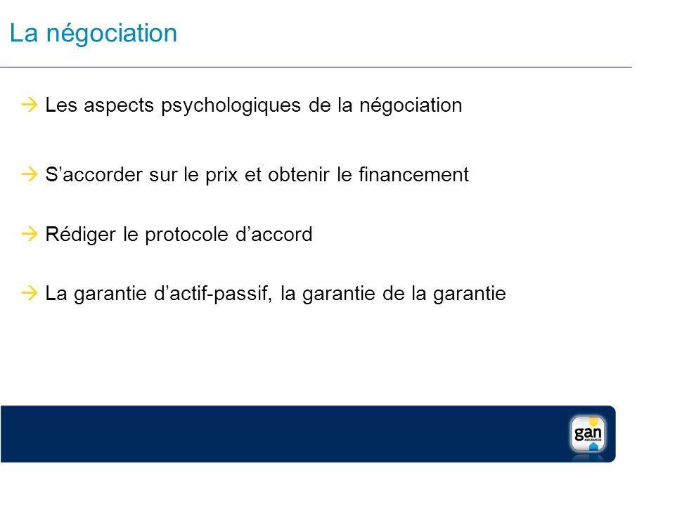La négociation Les aspects psychologiques de la négociation Saccorder sur le prix et obtenir le financement Rédiger le protocole daccord La garantie d