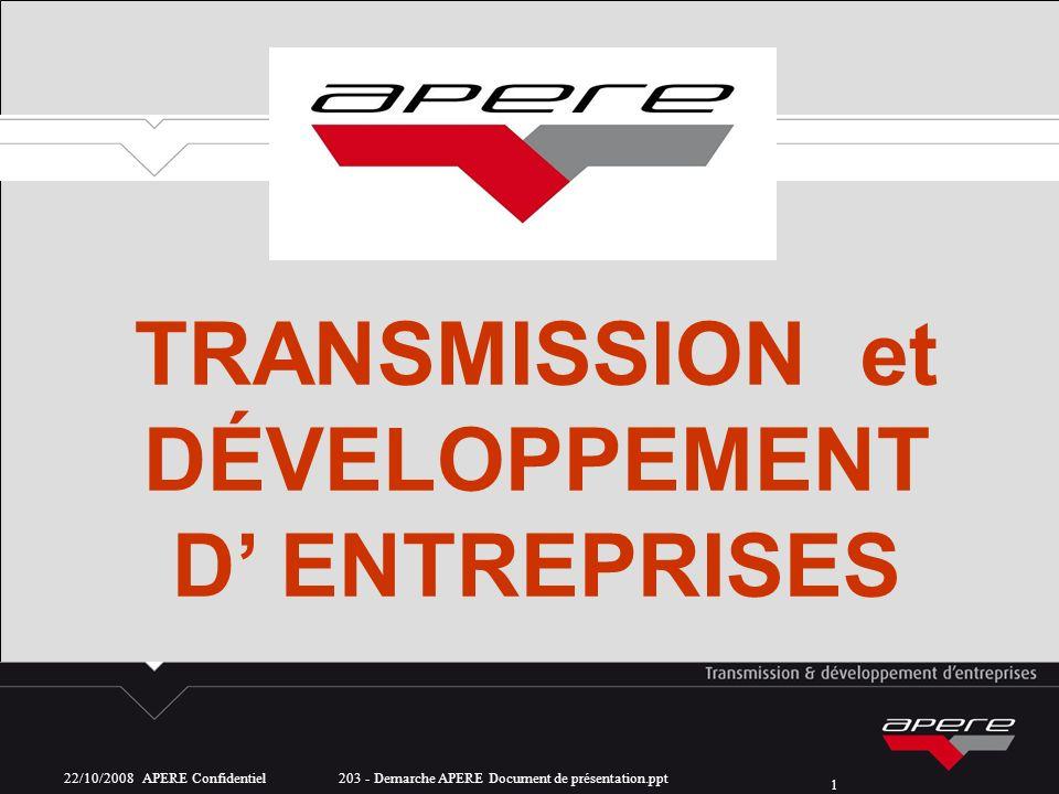 22/10/2008 APERE Confidentiel 203 - Demarche APERE Document de présentation.ppt 1 TRANSMISSION et DÉVELOPPEMENT D ENTREPRISES