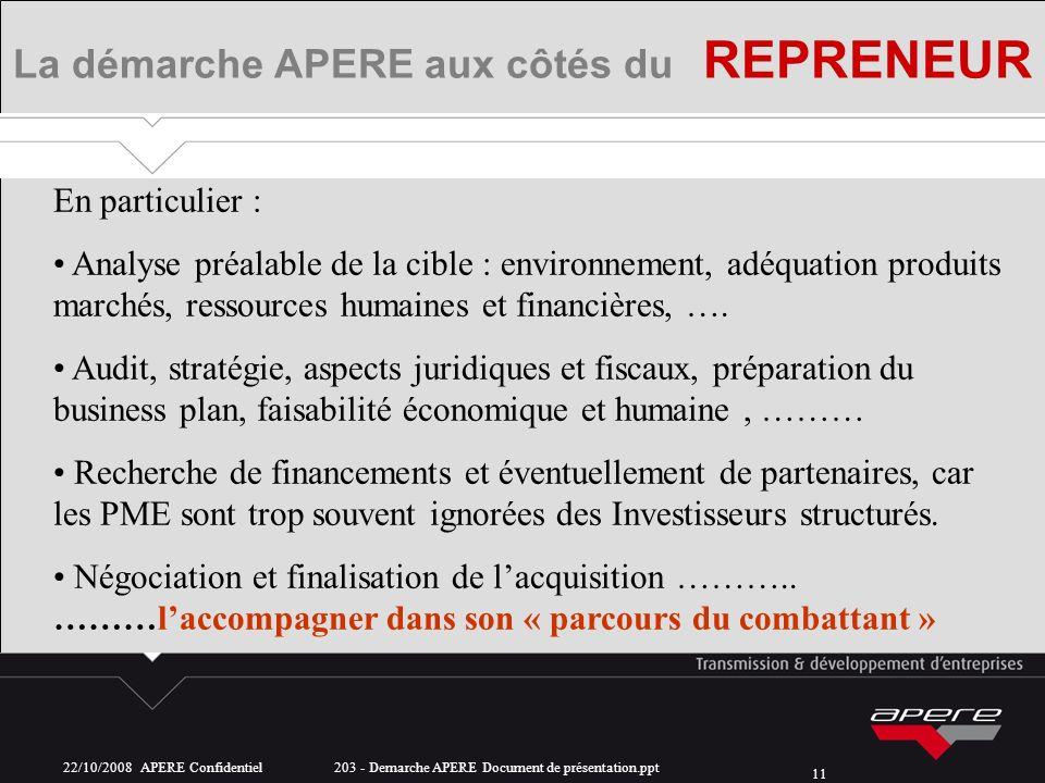 22/10/2008 APERE Confidentiel 203 - Demarche APERE Document de présentation.ppt 11 La démarche APERE aux côtés du REPRENEUR En particulier : Analyse p