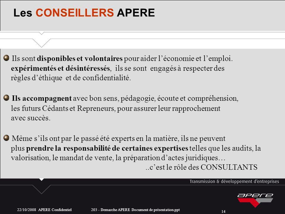 22/10/2008 APERE Confidentiel 203 - Demarche APERE Document de présentation.ppt 14 Les CONSEILLERS APERE Ils sont disponibles et volontaires pour aide
