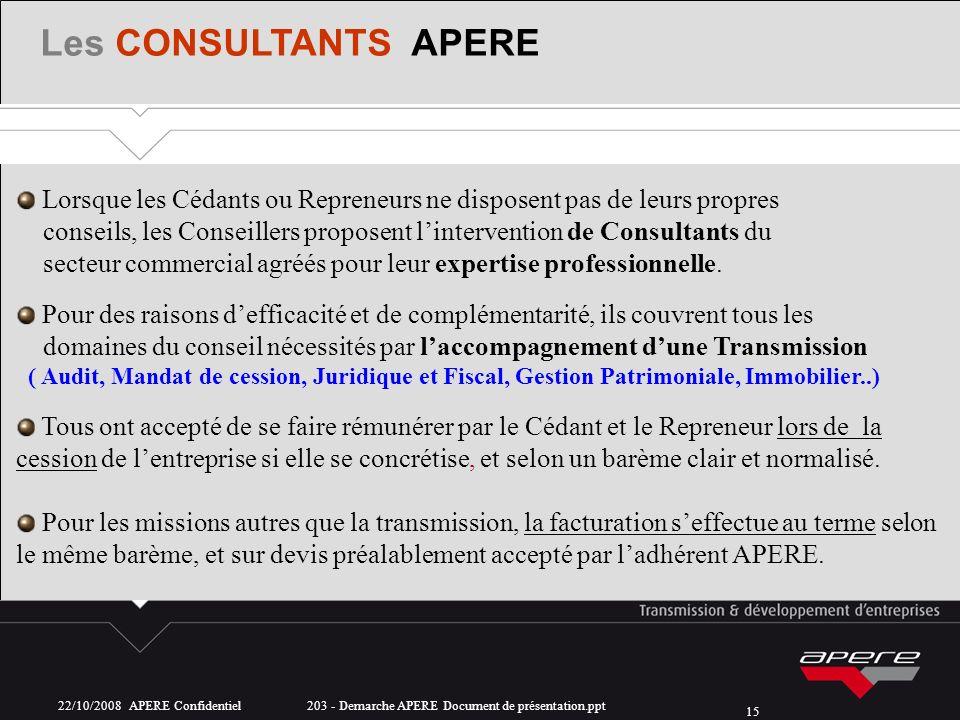 22/10/2008 APERE Confidentiel 203 - Demarche APERE Document de présentation.ppt 15 Les CONSULTANTS APERE Lorsque les Cédants ou Repreneurs ne disposen