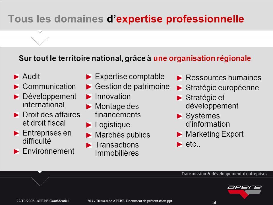 22/10/2008 APERE Confidentiel 203 - Demarche APERE Document de présentation.ppt 16 Tous les domaines dexpertise professionnelle Sur tout le territoire