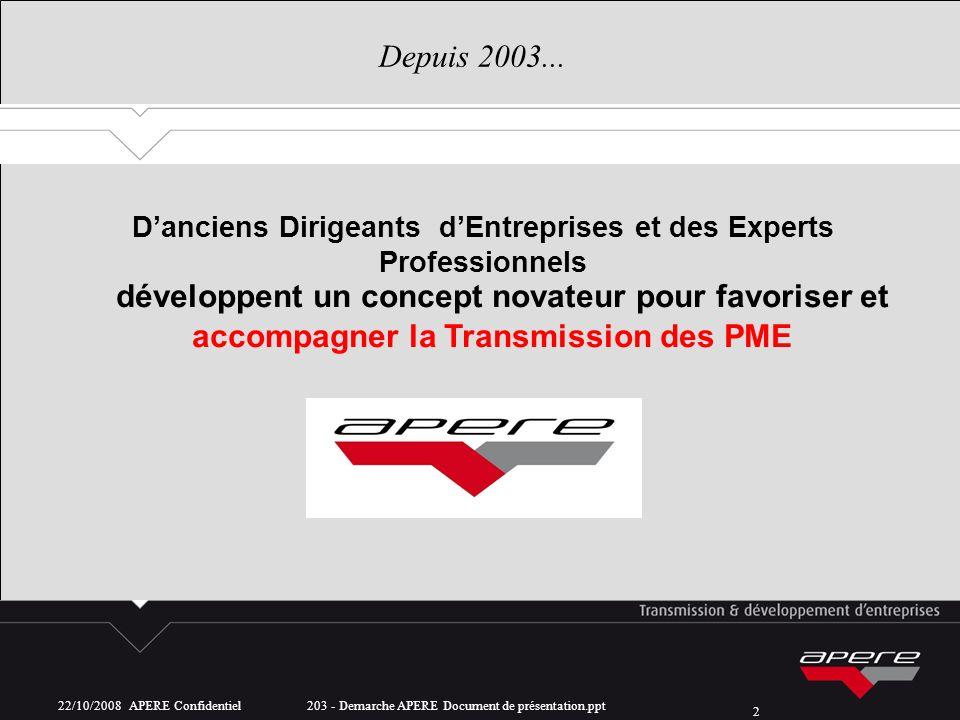 22/10/2008 APERE Confidentiel 203 - Demarche APERE Document de présentation.ppt 2 Depuis 2003... développent un concept novateur pour favoriser et acc