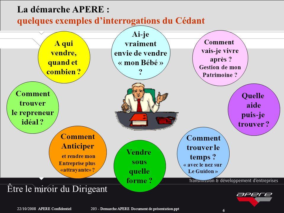 22/10/2008 APERE Confidentiel 203 - Demarche APERE Document de présentation.ppt 6 A qui vendre, quand et combien .