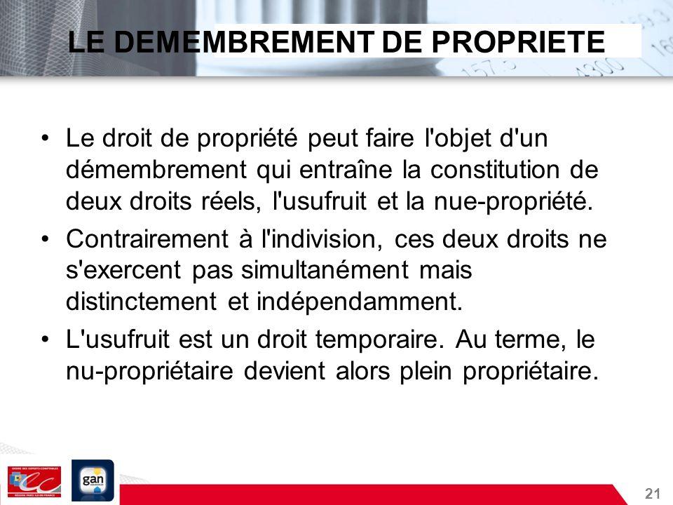 21 LE DEMEMBREMENT DE PROPRIETE Le droit de propriété peut faire l'objet d'un démembrement qui entraîne la constitution de deux droits réels, l'usufru