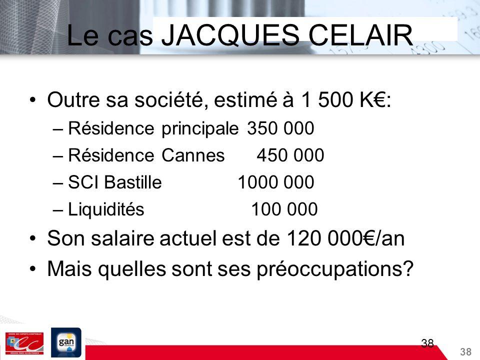 38 Le cas JACQUES CELAIR Outre sa société, estimé à 1 500 K: –Résidence principale 350 000 –Résidence Cannes 450 000 –SCI Bastille 1000 000 –Liquidité