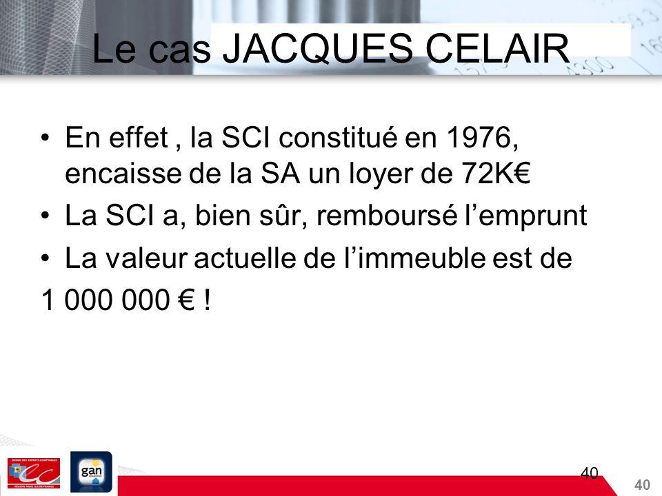 40 Le cas JACQUES CELAIR En effet, la SCI constitué en 1976, encaisse de la SA un loyer de 72K La SCI a, bien sûr, remboursé lemprunt La valeur actuel