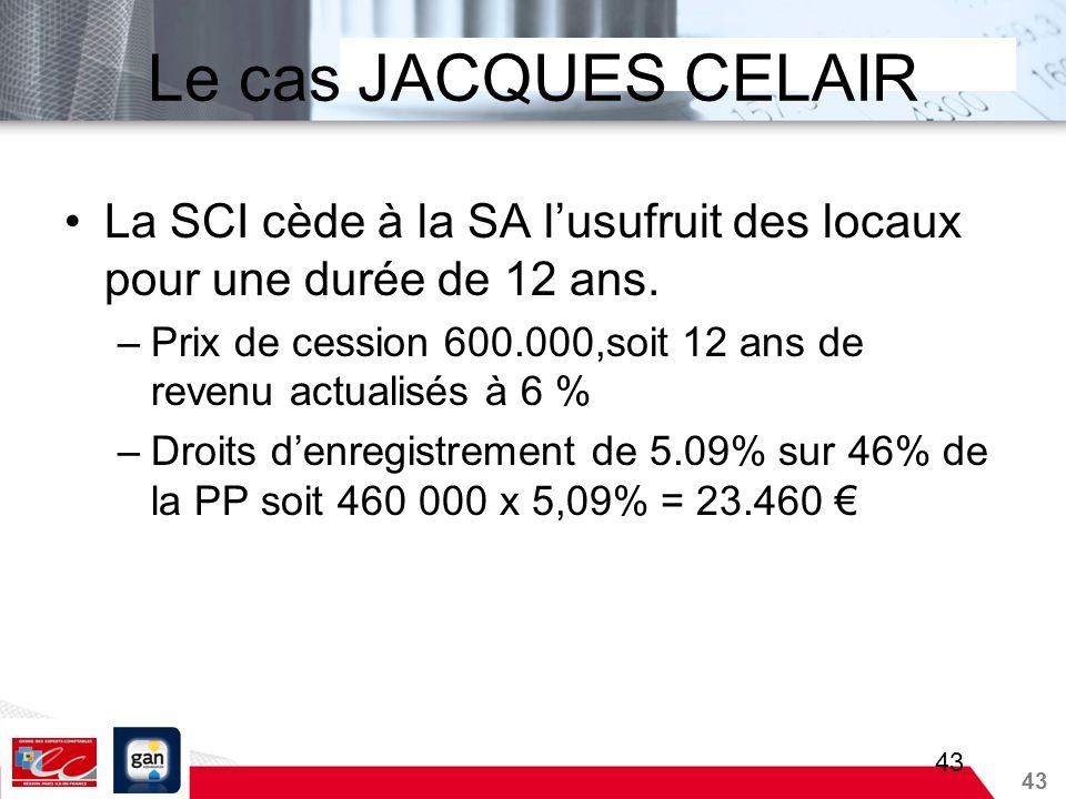43 Le cas JACQUES CELAIR La SCI cède à la SA lusufruit des locaux pour une durée de 12 ans. –Prix de cession 600.000,soit 12 ans de revenu actualisés