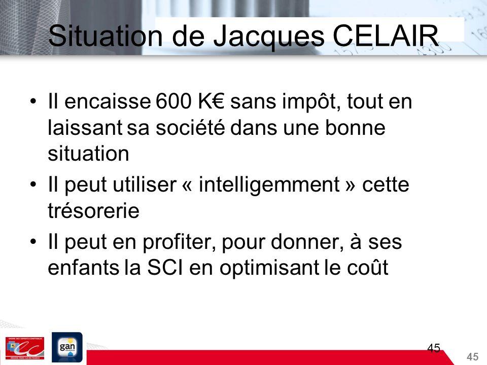 45 Situation de Jacques CELAIR Il encaisse 600 K sans impôt, tout en laissant sa société dans une bonne situation Il peut utiliser « intelligemment »