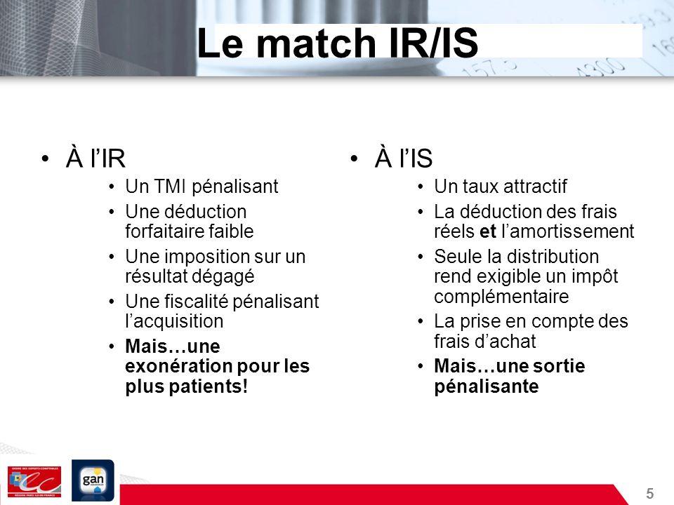 5 Le match IR/IS À lIR Un TMI pénalisant Une déduction forfaitaire faible Une imposition sur un résultat dégagé Une fiscalité pénalisant lacquisition