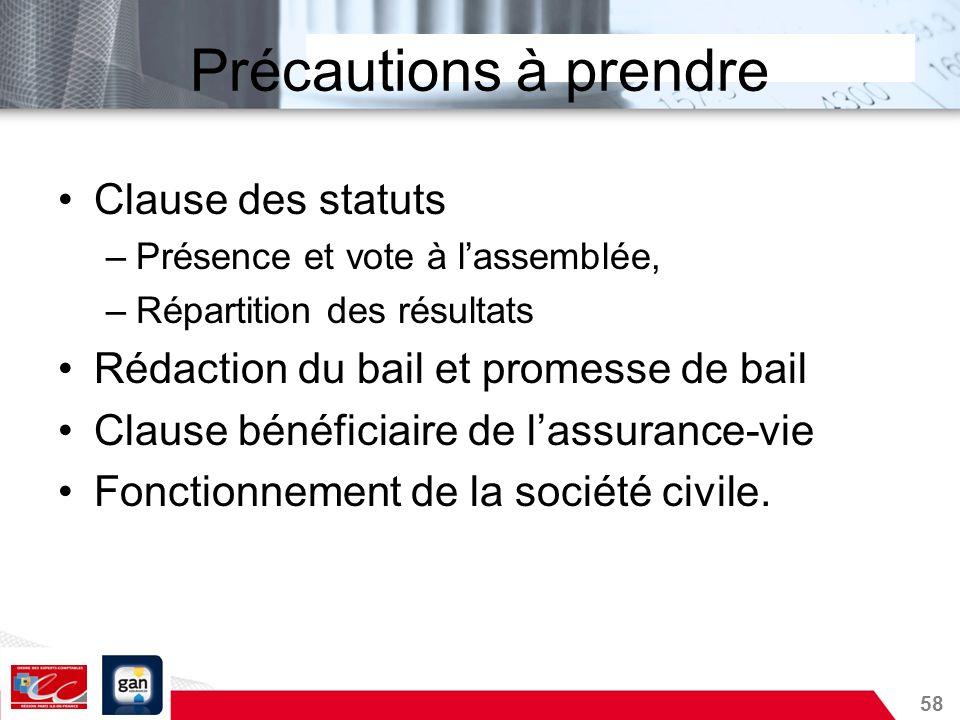 58 Précautions à prendre Clause des statuts –Présence et vote à lassemblée, –Répartition des résultats Rédaction du bail et promesse de bail Clause bé
